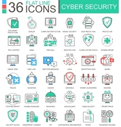 Cyber security modern color flat line vector