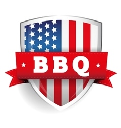 Barbecue vintage shield with USA flag vector image