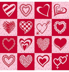 Hearts grunge background pattern vector
