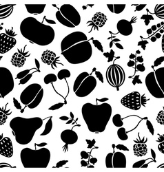 Berries pattern black vector