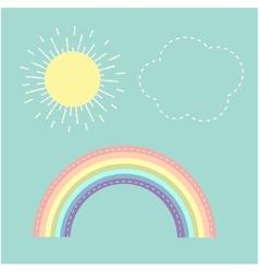 Rainbow sun cloud dash line love card flat design vector