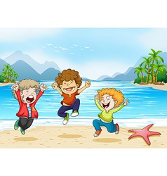 Children and beach vector image