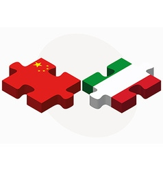 China and italy flags in puzzle isolated vector