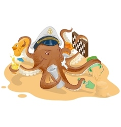 Summer vacation octopus has good time on beach vector