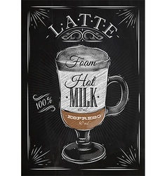 Poster latte chalk vector