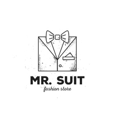 Outline man suit logo with old style grunge vector