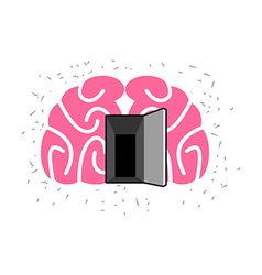 Brain with door open open mind vector