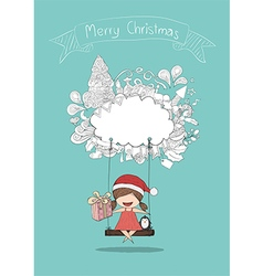 Girls santa and penguin swinging on a cloud icon vector
