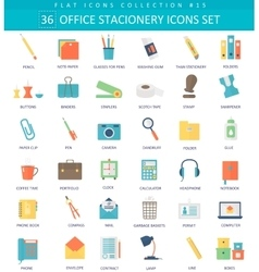 Office stacionery color flat icon set vector