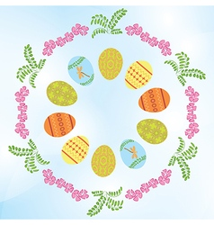Light blue background with easter eggs and flowers vector