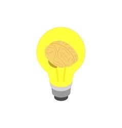 Light bulb brain icon isometric 3d style vector image