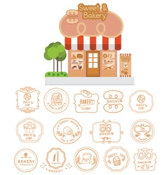 Bakery shop building facade with signboard vector