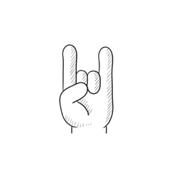 Rock and roll hand sign sketch icon vector