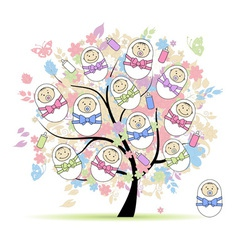 Floral tree with newborns for your design vector