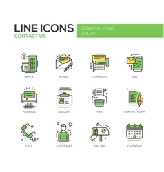 Contact us - line design icons set vector