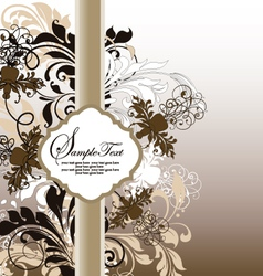 Brown floral invitation card vector