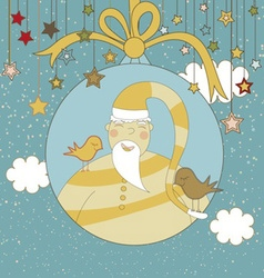 A Christmas Greeting with Santa in a Christmas vector image vector image