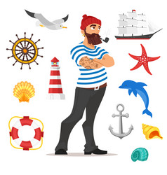 bearded sailor smoking pipe vector image vector image