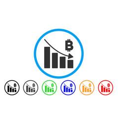 Bitcoin recession bar chart flat icon vector