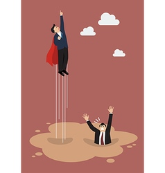 Businessman superhero get away from puddle of vector