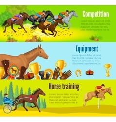 Cartoon Equestrian Horizontal Banners vector image