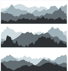 cartoon silhouette black mountains landscape vector image vector image
