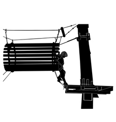 children in adventure park rope ladder vector image
