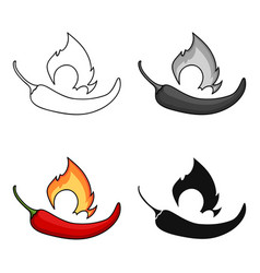 chili pepper icon in cartoon style isolated on vector image