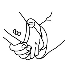 Close up two businesspeople shaking hands - vector