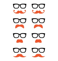Geek glasses and ginger moustache or mustache icon vector image