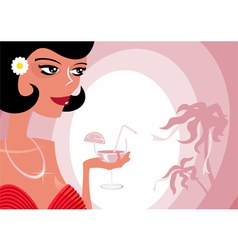 Girl and cocktail vector image vector image