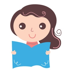 Girl with text book isolate on white vector