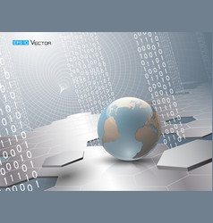 globe with binary code and hexagons vector image vector image