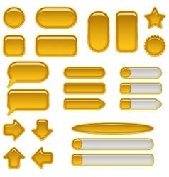 Gold glass buttons set vector