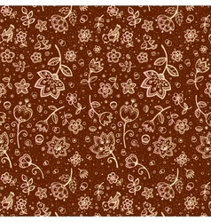 Hand-drawing flower pattern in chocolate color vector image