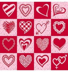 Hearts grunge background pattern vector