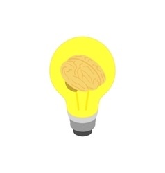 Light bulb brain icon isometric 3d style vector image