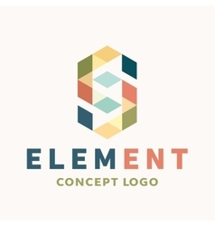 Logo element volume and flat polygon style vector image