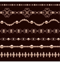 Pearl Realistic Borders vector image