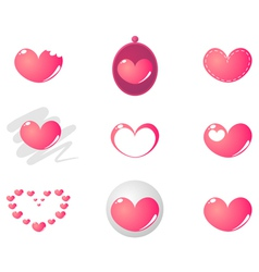 Pink heart valentines set vector image vector image