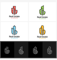 real estate logo design with simple building vector image vector image