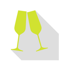 Sparkling champagne glasses pear icon with flat vector