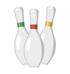 Three bowling pins icon cartoon style vector