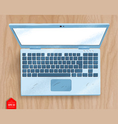 Top view of open laptop vector