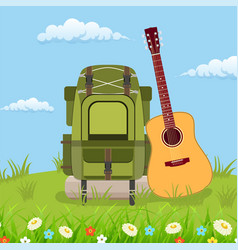 Travel pack with giutar vector