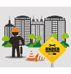 Under construction worker city road cone building vector
