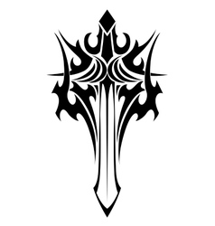Winged sword tattoo in tribal style vector image