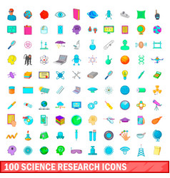 100 science research icons set cartoon style vector