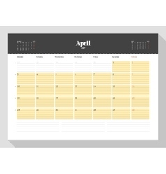 Calendar template for 2017 year april business vector