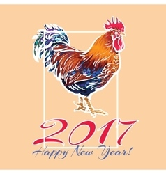 Colorful 2017 new year greeting card with rooster vector